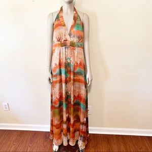 Jessica Simpson Dresses - Jessica Simpson Water Color Halter Maxi Dress 12